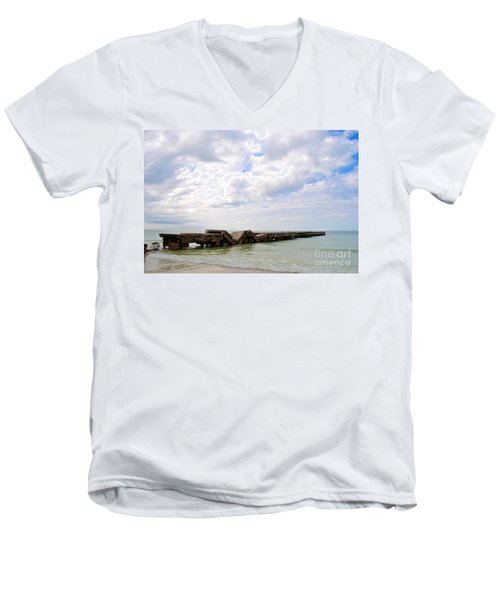 Bridge To Nowhere Men's V-Neck T-Shirt by Margie Amberge