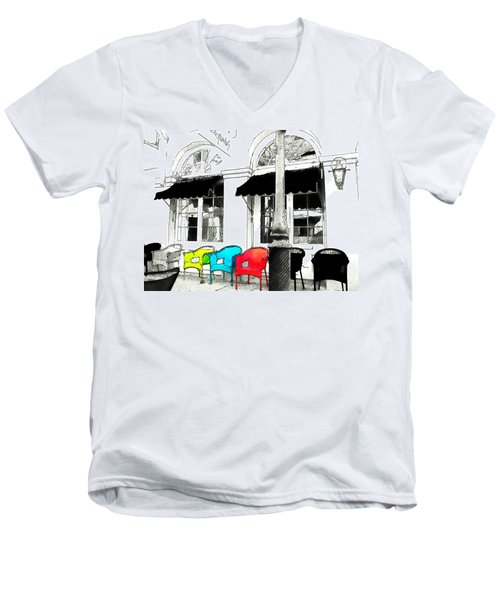 Men's V-Neck T-Shirt featuring the photograph Bright Bistro by Kathy Bassett