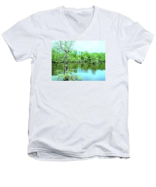 Bright Green Mill Pond Reflections Men's V-Neck T-Shirt