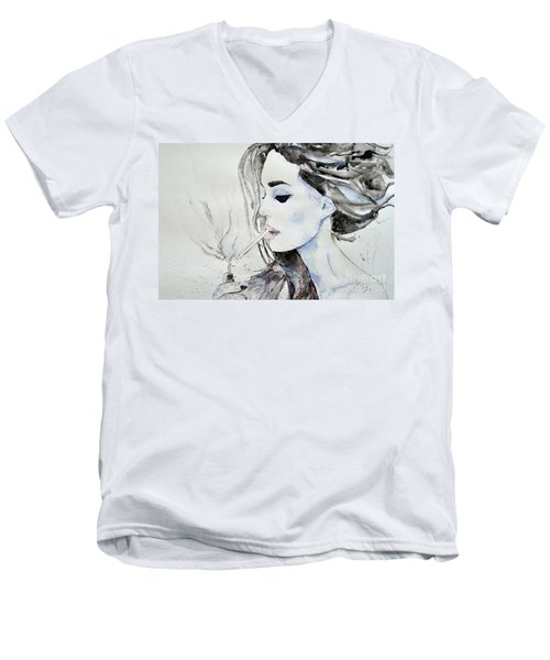 Men's V-Neck T-Shirt featuring the painting Brigitte Bardot by Ismeta Gruenwald