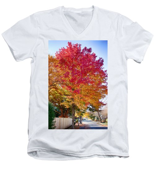 brilliant autumn colors on a Marblehead street Men's V-Neck T-Shirt