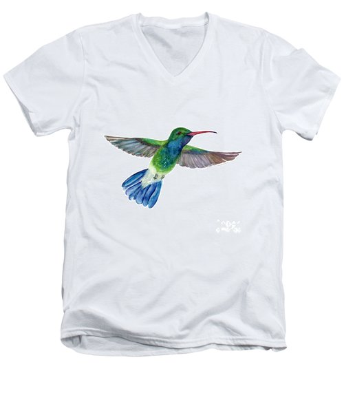 Broadbilled Fan Tail Hummingbird Men's V-Neck T-Shirt