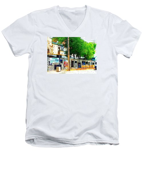 Broadway Oyster Bar With A Boost Men's V-Neck T-Shirt by Kelly Awad