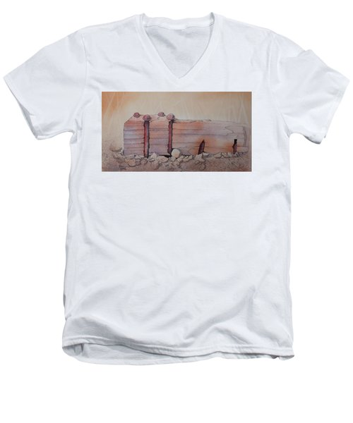 Men's V-Neck T-Shirt featuring the painting Broken Dock Seward Alaska by Richard Faulkner