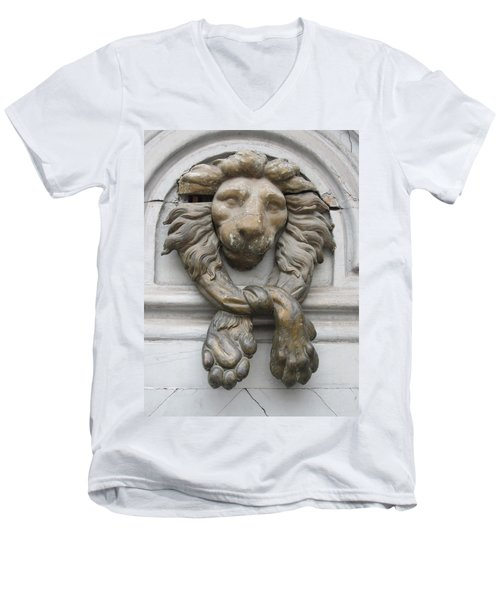 Men's V-Neck T-Shirt featuring the photograph Bronze Lion by Pema Hou