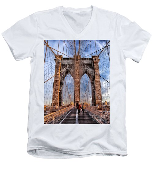 Men's V-Neck T-Shirt featuring the photograph Brooklyn Bridge by Paul Fearn