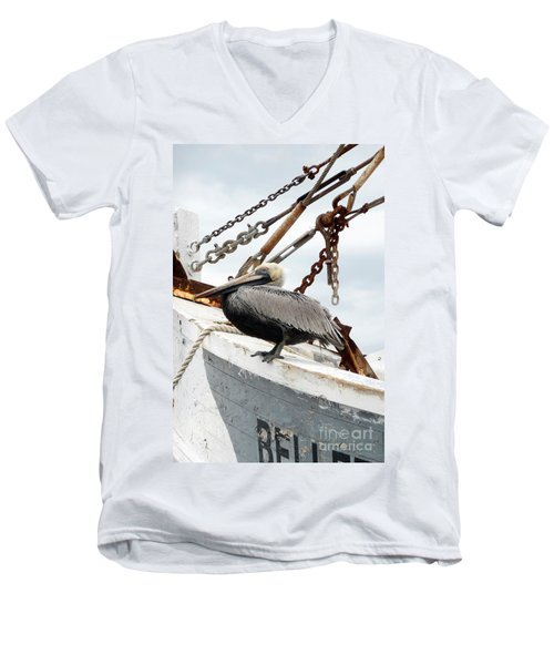 Brown Pelican Men's V-Neck T-Shirt by Valerie Reeves