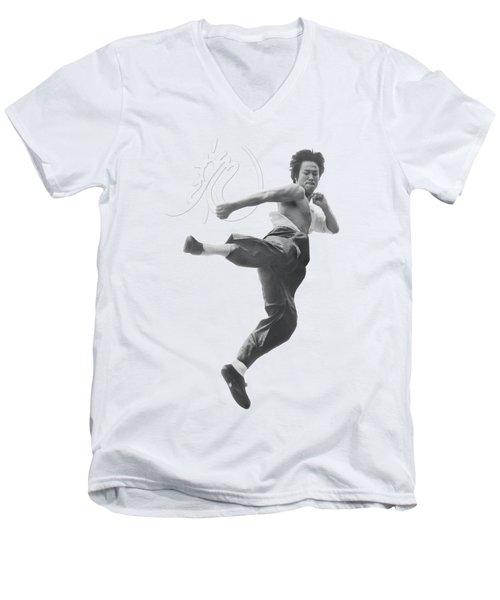 Bruce Lee - Flying Kick Men's V-Neck T-Shirt by Brand A