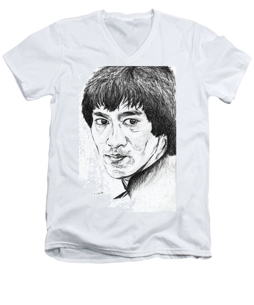 Bruce Lee Men's V-Neck T-Shirt by Teresa White