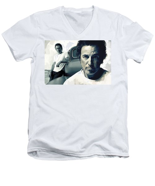 Bruce Springsteen The Boss Artwork 1 Men's V-Neck T-Shirt by Sheraz A