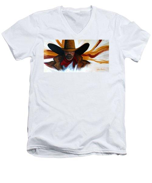 Brushstroke Cowboy #4 Men's V-Neck T-Shirt by Lance Headlee