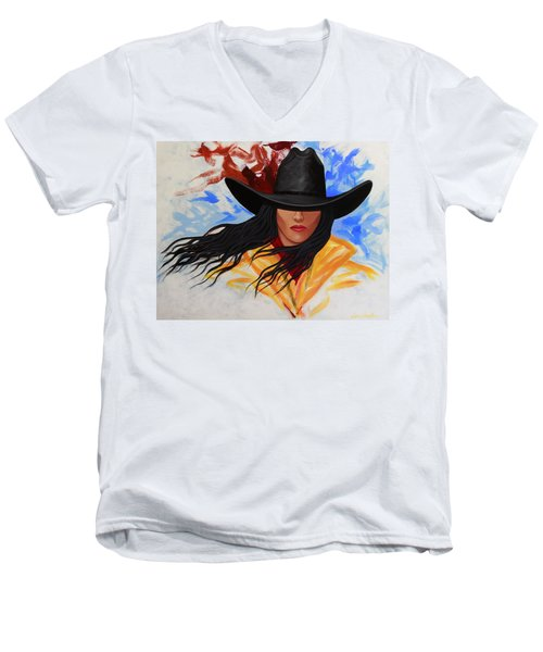 Brushstroke Cowgirl #3 Men's V-Neck T-Shirt by Lance Headlee