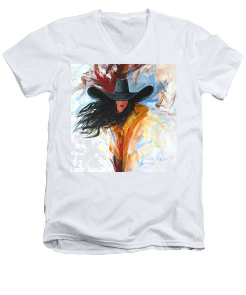 Brushstroke Cowgirl Men's V-Neck T-Shirt by Lance Headlee