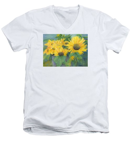 Bucket Of Sunflowers Colorful Original Painting Sunflowers Sunflower Art K. Joann Russell Artist Men's V-Neck T-Shirt by Elizabeth Sawyer