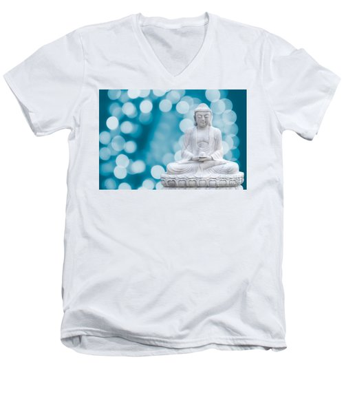 Buddha Enlightenment Blue Men's V-Neck T-Shirt by Hannes Cmarits