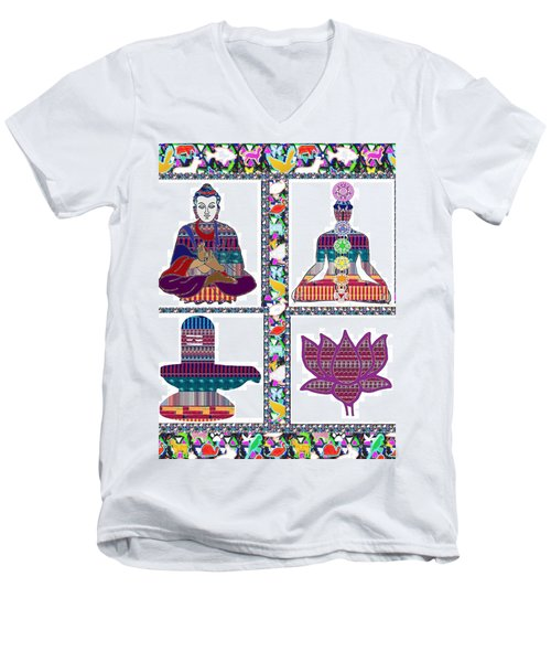 Buddha Yoga Chakra Lotus Shivalinga Meditation Navin Joshi Rights Managed Images Graphic Design Is A Men's V-Neck T-Shirt