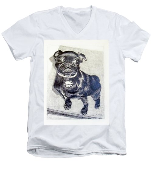 Men's V-Neck T-Shirt featuring the drawing Buddy by Jamie Frier