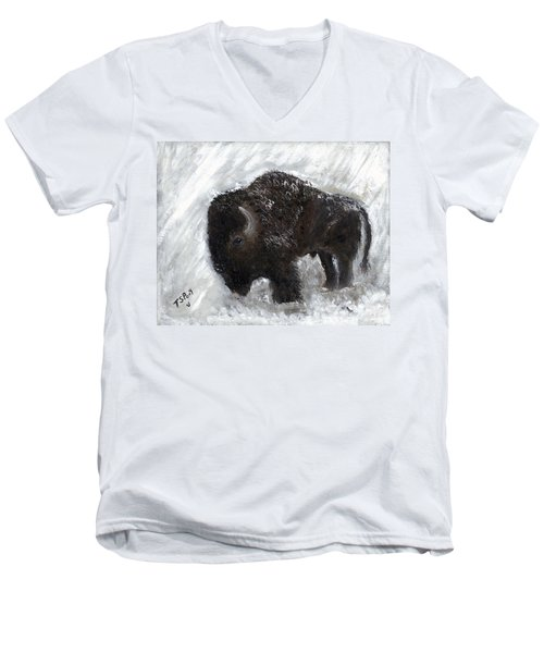 Buffalo In The Snow Men's V-Neck T-Shirt by Barbie Batson
