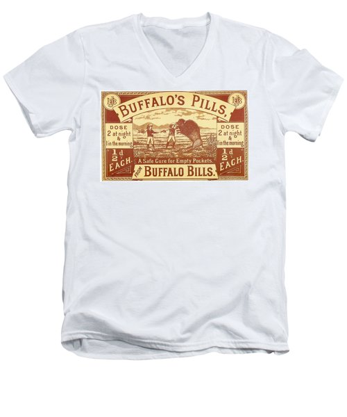 Men's V-Neck T-Shirt featuring the photograph Buffalo's Pills Vintage Ad by Gianfranco Weiss