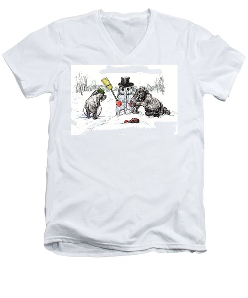 Building A Snow Elephant Men's V-Neck T-Shirt by Donna Tucker