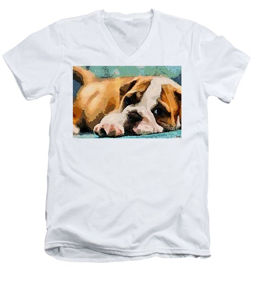Bulldog Puppy Men's V-Neck T-Shirt