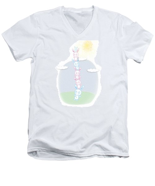 Bunny Tower Childrens Illustration Men's V-Neck T-Shirt by Lenny Carter