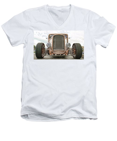 Burnt Orange Hot Rod Men's V-Neck T-Shirt