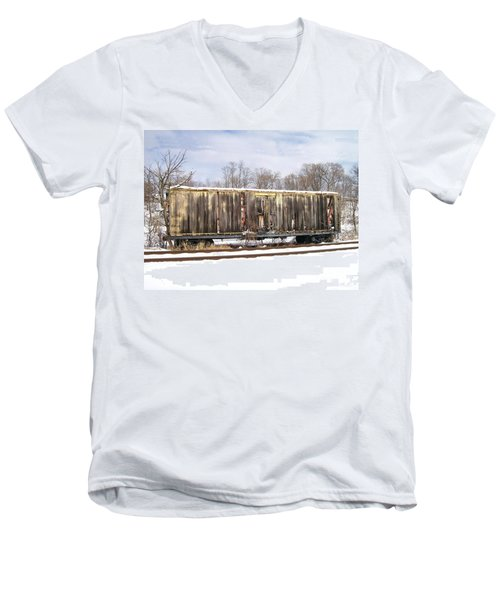 Men's V-Neck T-Shirt featuring the photograph Burnt by Sara  Raber