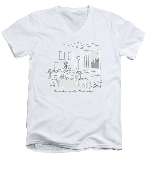 Businessman Sitting On A Bed In Hotel Room Men's V-Neck T-Shirt by Jack Ziegler