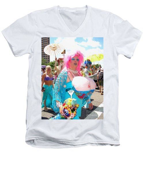 Men's V-Neck T-Shirt featuring the photograph Busty Mermaid by Ed Weidman