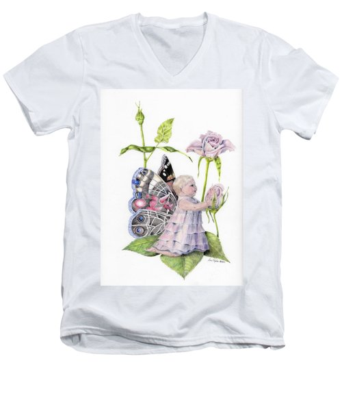 Butterfly Baby Men's V-Neck T-Shirt by Laurianna Taylor