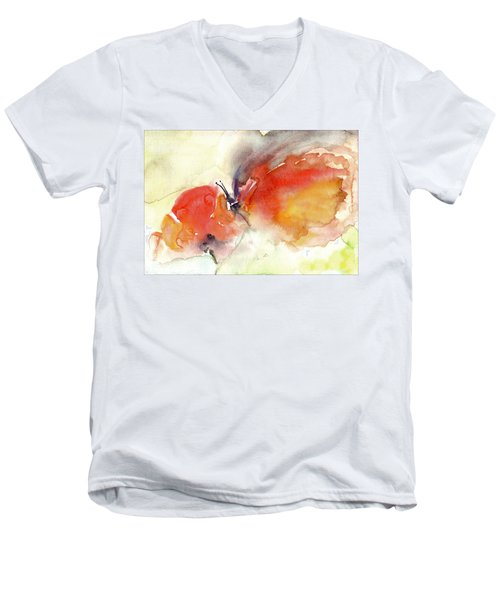 Men's V-Neck T-Shirt featuring the painting Butterfly by Faruk Koksal