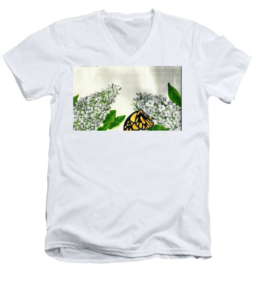 Butterfly Men's V-Neck T-Shirt by Francine Heykoop