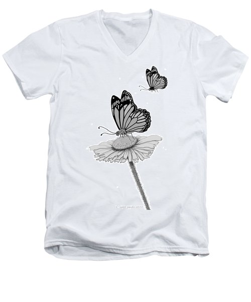 Men's V-Neck T-Shirt featuring the digital art Butterfly Friends by Carol Jacobs