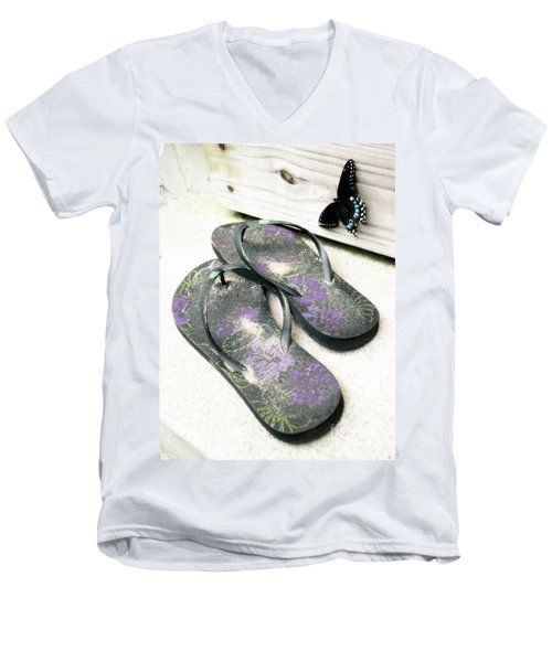 Men's V-Neck T-Shirt featuring the photograph Butterfly Summer by Angela DeFrias