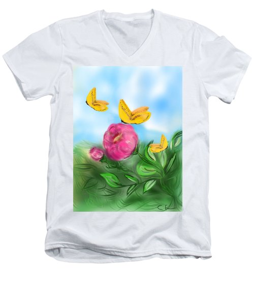 Men's V-Neck T-Shirt featuring the digital art Butterfly Triplets by Christine Fournier