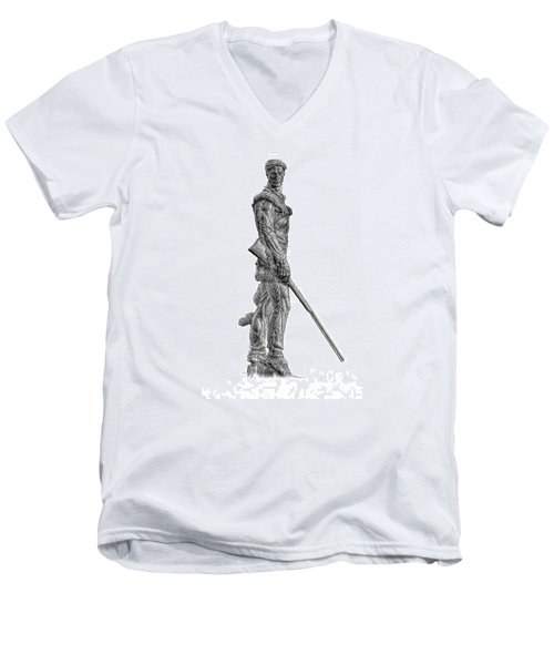 Bw Of Mountaineer Statue Men's V-Neck T-Shirt by Dan Friend