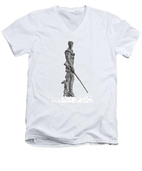 Bw Of Mountaineer Statue Men's V-Neck T-Shirt