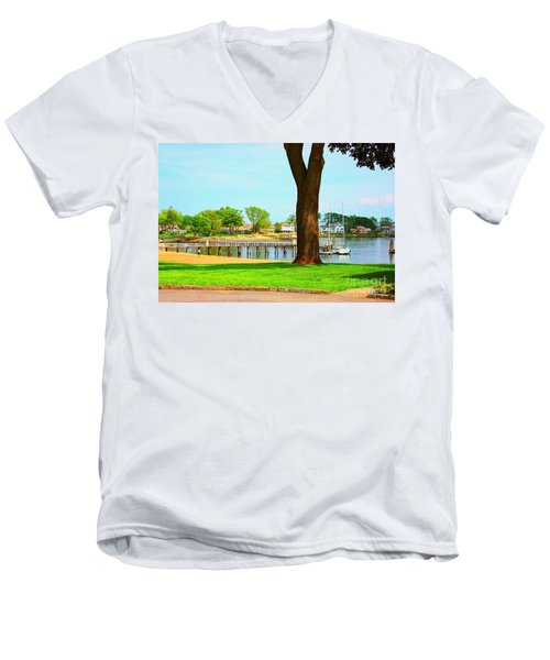 Men's V-Neck T-Shirt featuring the photograph By The Sea by Judy Palkimas