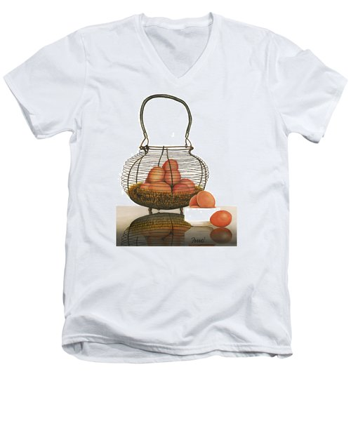 Men's V-Neck T-Shirt featuring the painting Cackleberries by Ferrel Cordle