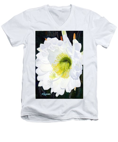 Cactus Flower II Men's V-Neck T-Shirt by Mike Robles