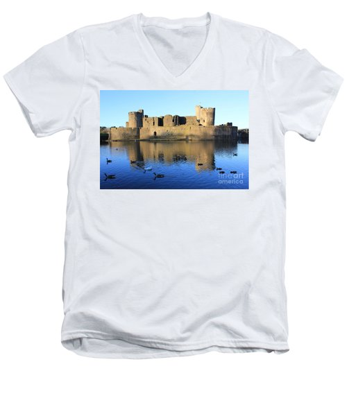 Men's V-Neck T-Shirt featuring the photograph Caerphilly Castle by Vicki Spindler