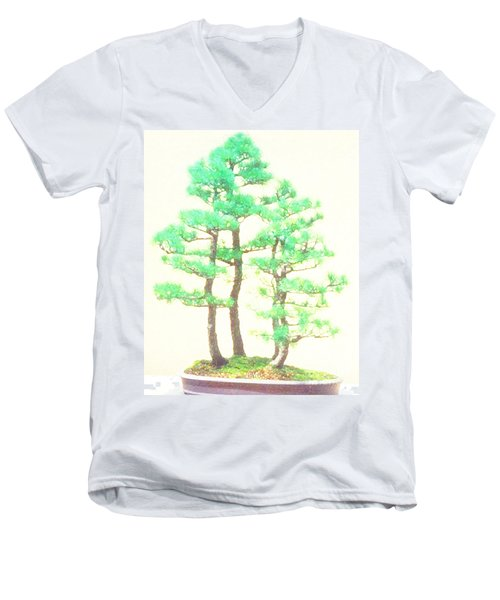 Men's V-Neck T-Shirt featuring the painting Caitlin Elm Bonsai Tree by Marian Cates