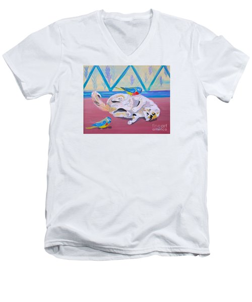 Men's V-Neck T-Shirt featuring the painting Calico And Friends by Phyllis Kaltenbach