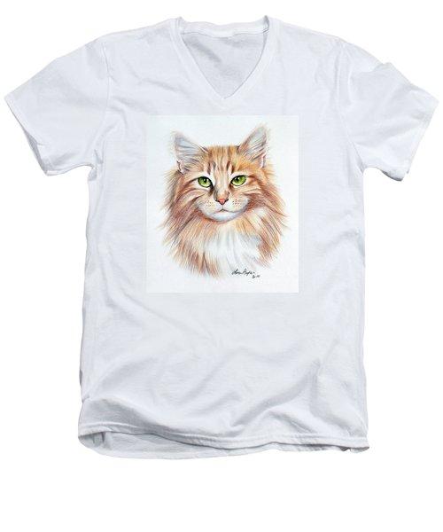 Calico Cat Men's V-Neck T-Shirt by Lena Auxier