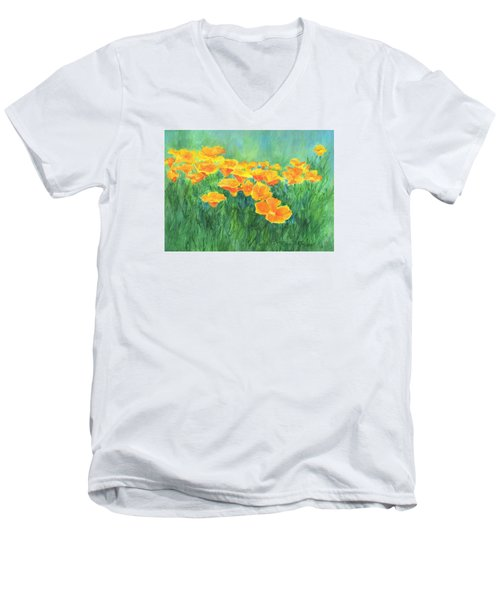 California Golden Poppies Field Bright Colorful Landscape Painting Flowers Floral K. Joann Russell Men's V-Neck T-Shirt by Elizabeth Sawyer