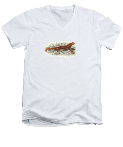 California Newt Men's V-Neck T-Shirt by Cindy Hitchcock