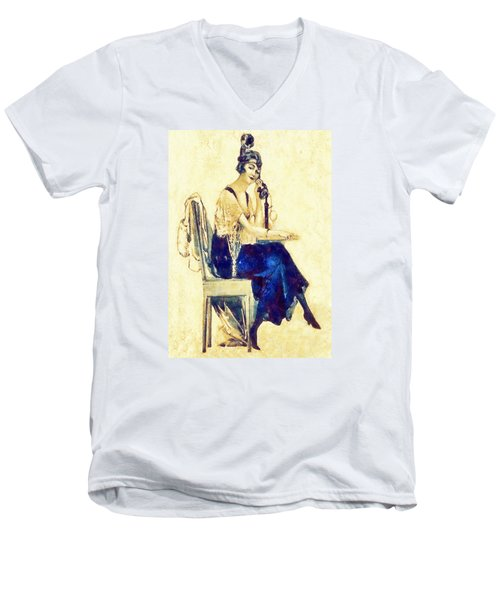 Men's V-Neck T-Shirt featuring the digital art Call Me by Charmaine Zoe