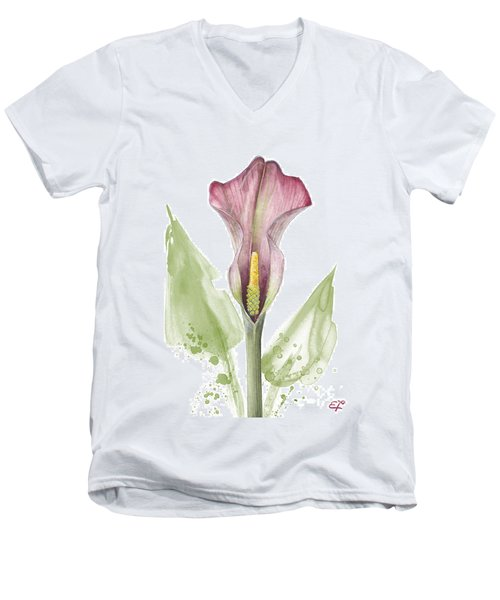 Men's V-Neck T-Shirt featuring the painting Calla Lily 01 - Elena Yakubovich by Elena Yakubovich