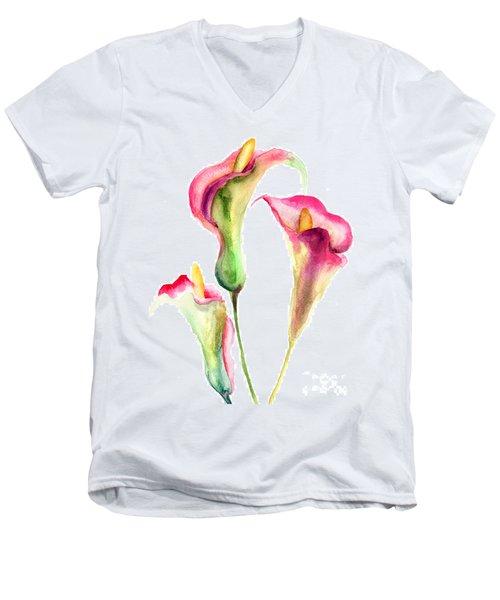 Calla Lily Flowers Men's V-Neck T-Shirt